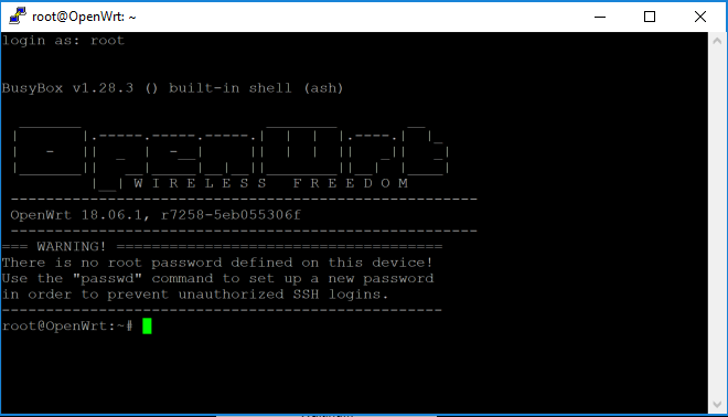 putty on first ssh to router